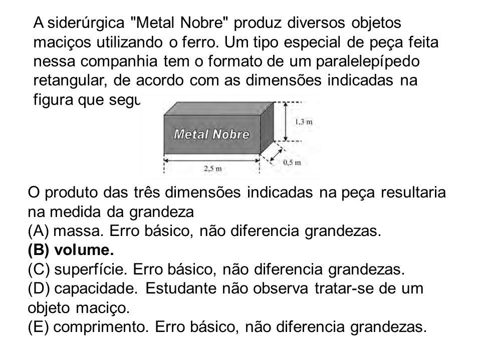 A siderúrgica Metal Nobre produz diversos objetos maciços utilizando o ferro. Um tipo especial de peça feita nessa companhia tem o formato de um paralelepípedo retangular, de acordo com as dimensões indicadas na figura que segue: