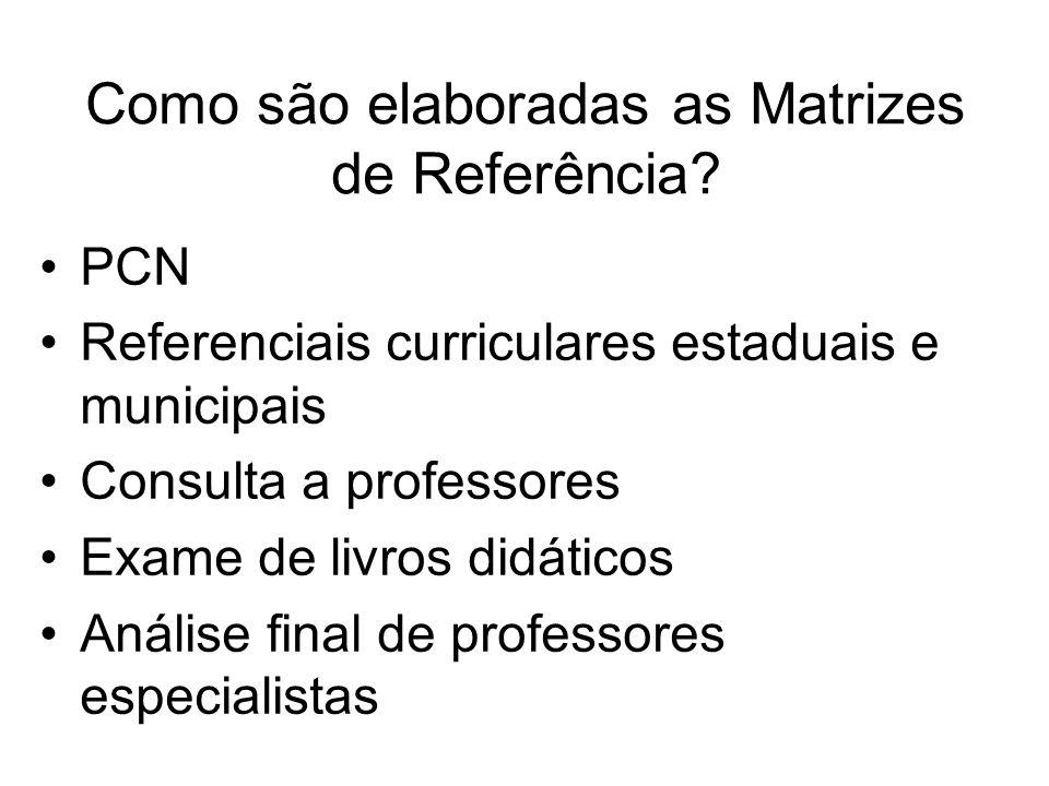 Como são elaboradas as Matrizes de Referência