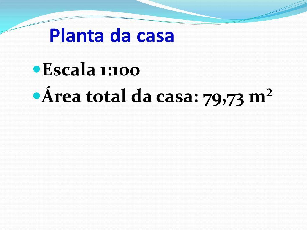 Escala 1:100 Área total da casa: 79,73 m²