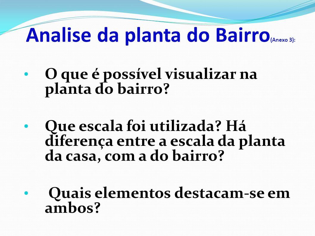 Analise da planta do Bairro(Anexo 3):