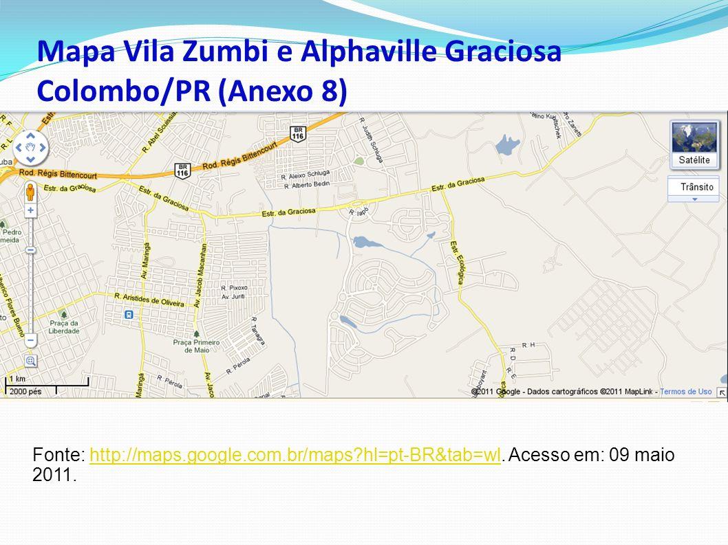 Mapa Vila Zumbi e Alphaville Graciosa Colombo/PR (Anexo 8)