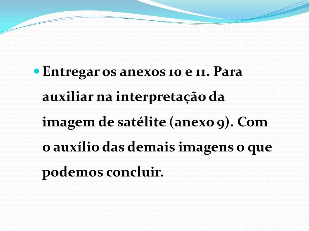 Entregar os anexos 10 e 11. Para auxiliar na interpretação da imagem de satélite (anexo 9).