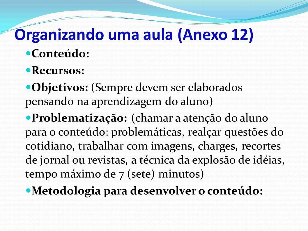 Organizando uma aula (Anexo 12)