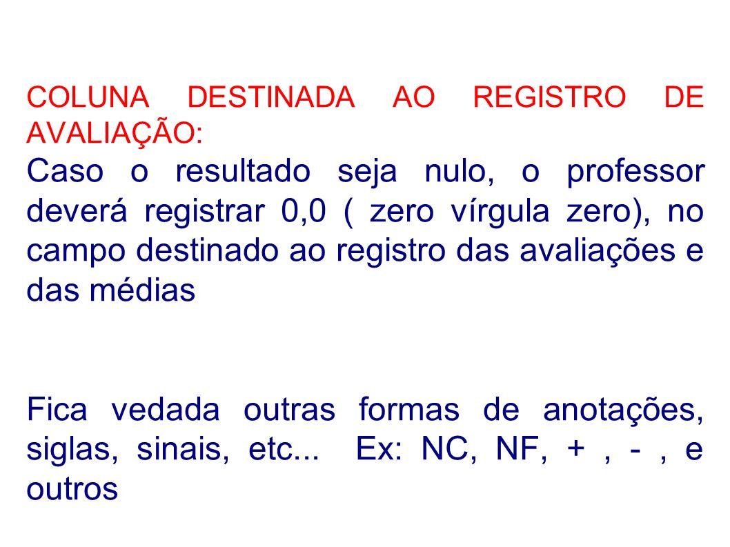 COLUNA DESTINADA AO REGISTRO DE AVALIAÇÃO: