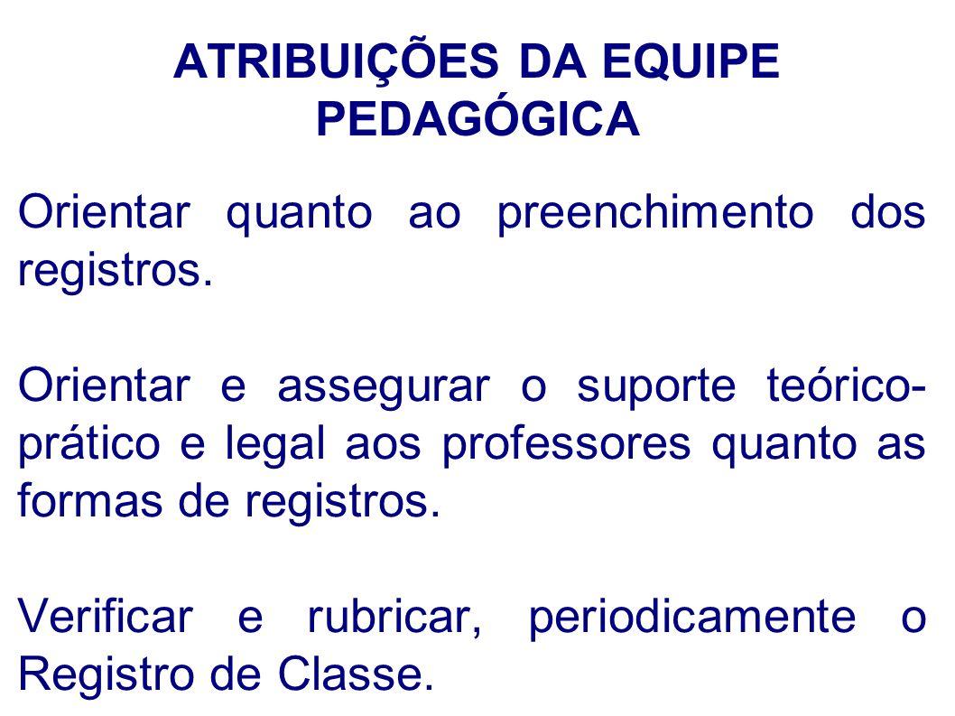 ATRIBUIÇÕES DA EQUIPE PEDAGÓGICA
