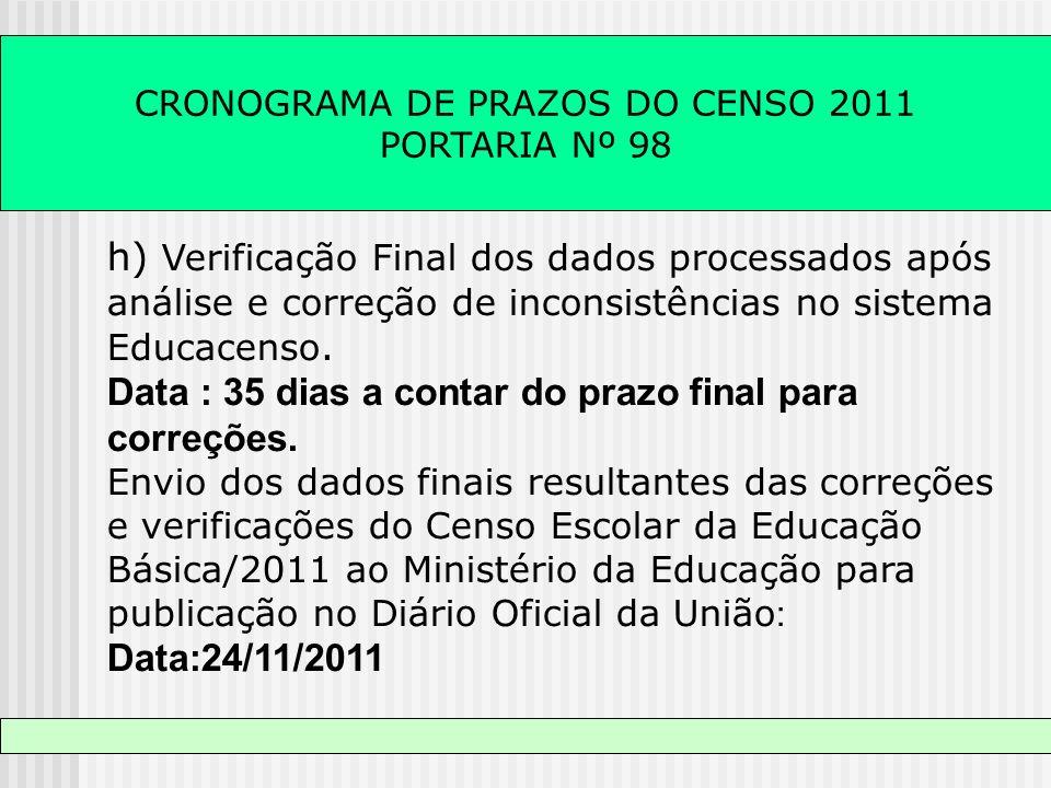 CRONOGRAMA DE PRAZOS DO CENSO 2011