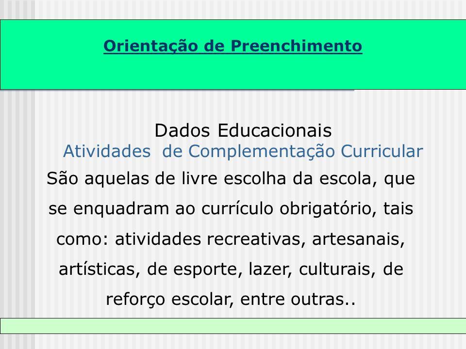 Dados Educacionais Atividades de Complementação Curricular