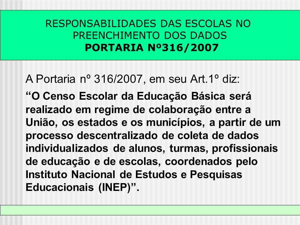 A Portaria nº 316/2007, em seu Art.1º diz: