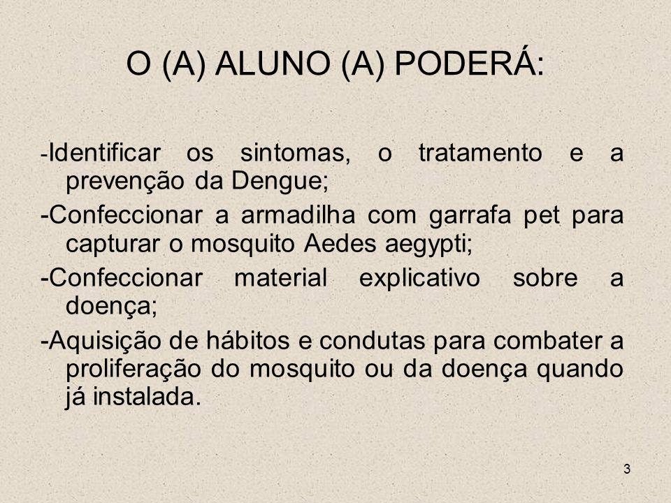 O (A) ALUNO (A) PODERÁ: -Identificar os sintomas, o tratamento e a prevenção da Dengue;