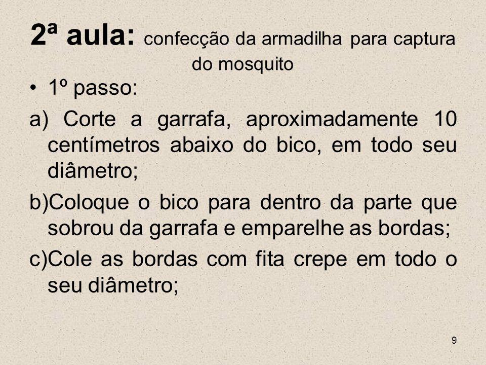 2ª aula: confecção da armadilha para captura do mosquito