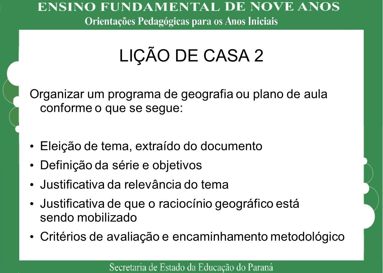 LIÇÃO DE CASA 2 Organizar um programa de geografia ou plano de aula conforme o que se segue: Eleição de tema, extraído do documento.