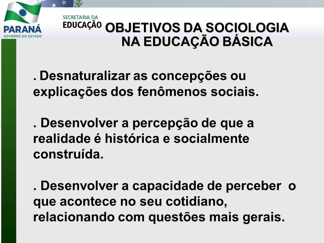 OBJETIVOS DA SOCIOLOGIA NA EDUCAÇÃO BÁSICA