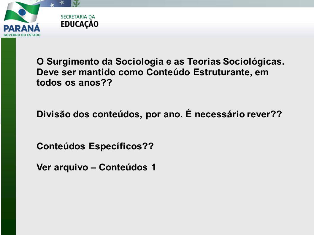 O Surgimento da Sociologia e as Teorias Sociológicas
