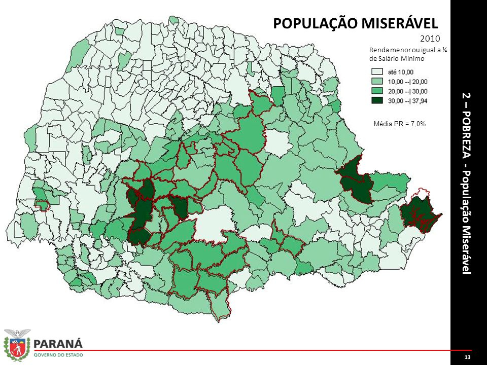 1313 Domicílios com rendimento médio domiciliar inferior a ¼ do Salário Mínimo em vigor. POPULAÇÃO MISERÁVEL.