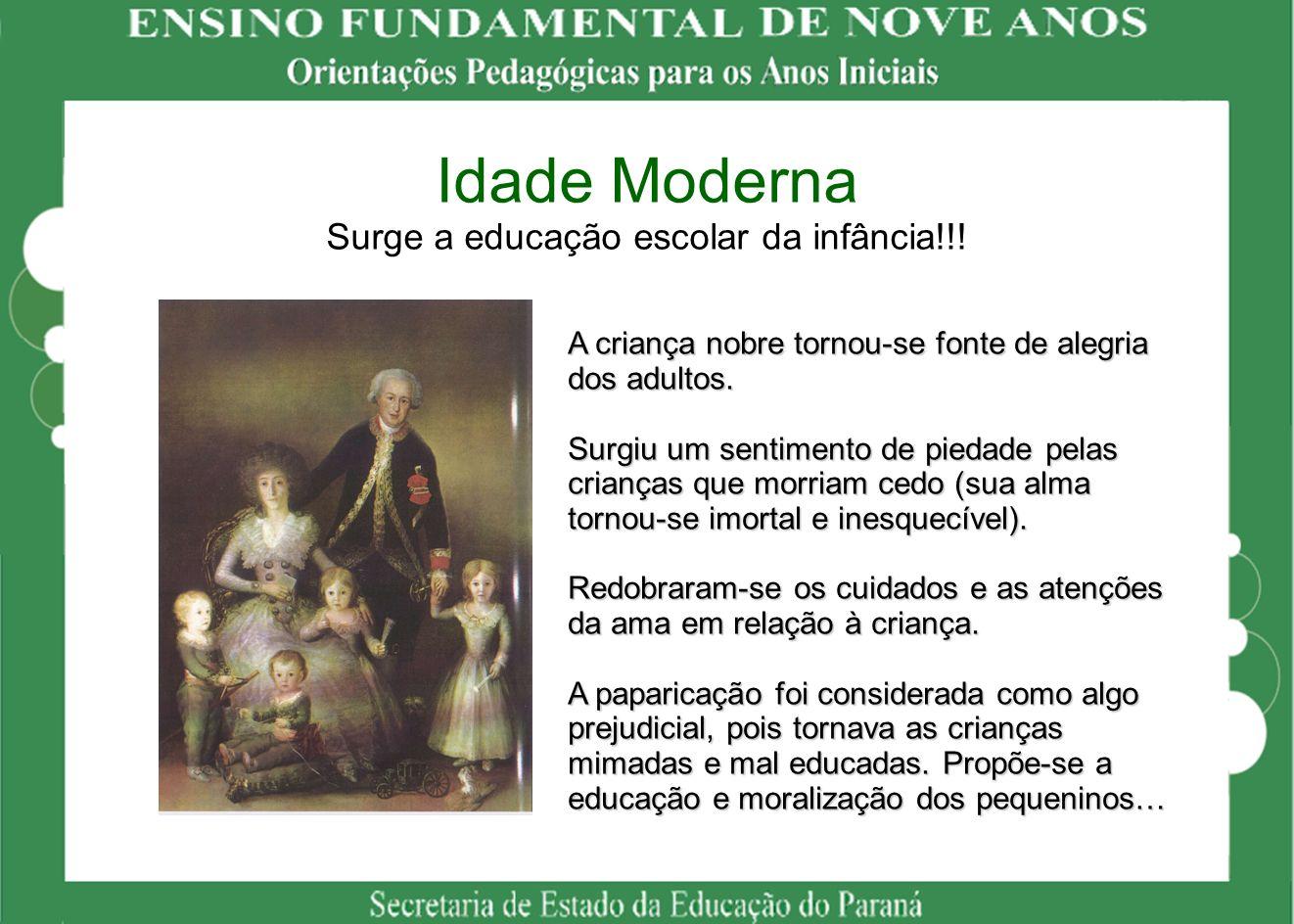 Idade Moderna Surge a educação escolar da infância!!!