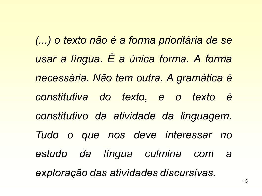 (. ) o texto não é a forma prioritária de se usar a língua