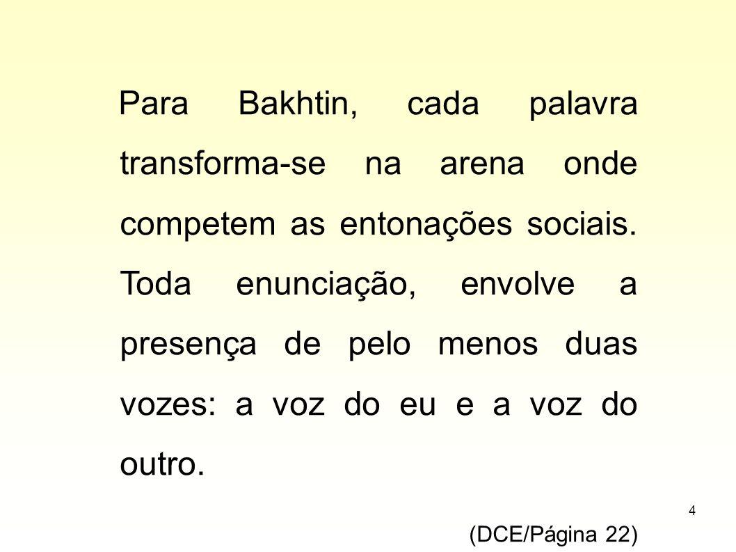 Para Bakhtin, cada palavra transforma-se na arena onde competem as entonações sociais. Toda enunciação, envolve a presença de pelo menos duas vozes: a voz do eu e a voz do outro.