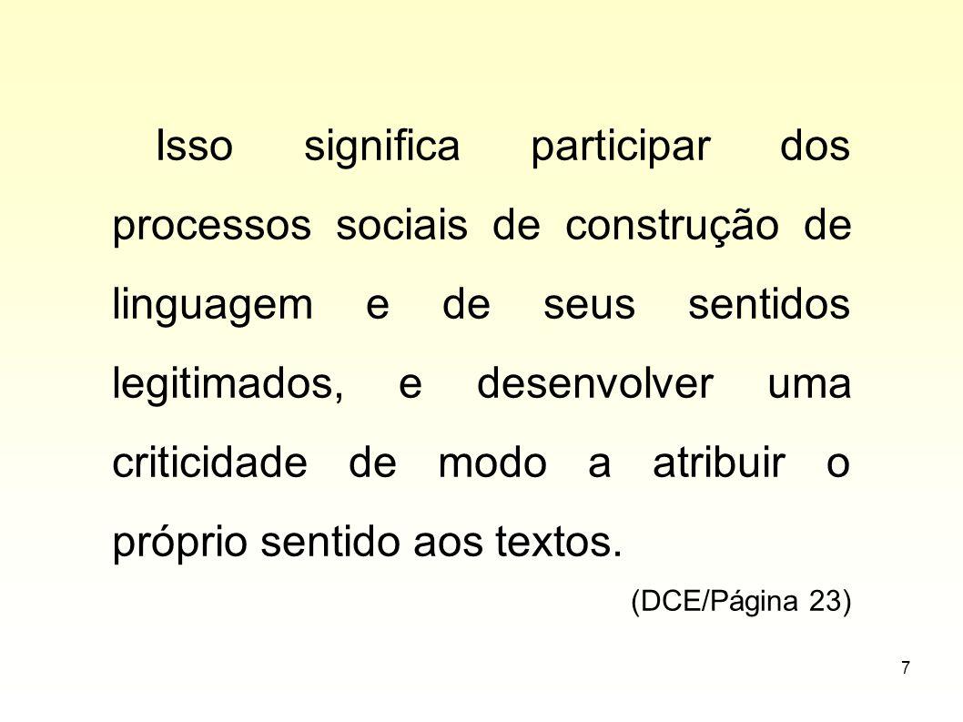 Isso significa participar dos processos sociais de construção de linguagem e de seus sentidos legitimados, e desenvolver uma criticidade de modo a atribuir o próprio sentido aos textos.