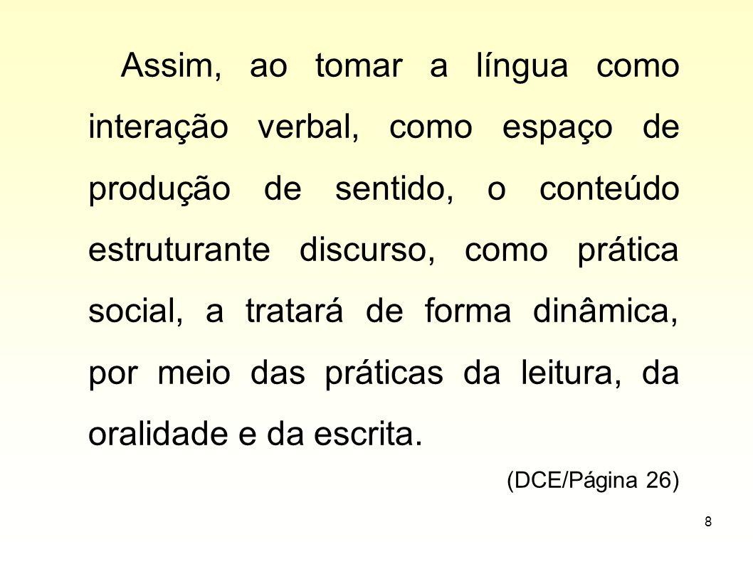 Assim, ao tomar a língua como interação verbal, como espaço de produção de sentido, o conteúdo estruturante discurso, como prática social, a tratará de forma dinâmica, por meio das práticas da leitura, da oralidade e da escrita.
