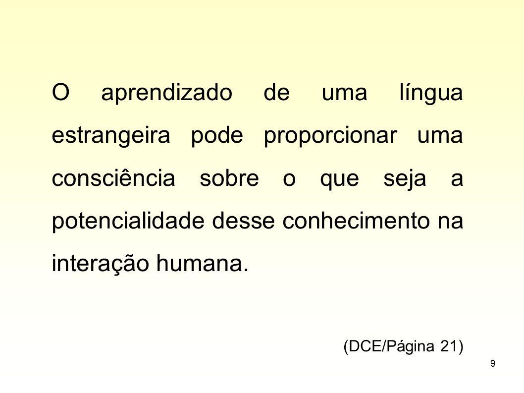 O aprendizado de uma língua estrangeira pode proporcionar uma consciência sobre o que seja a potencialidade desse conhecimento na interação humana.