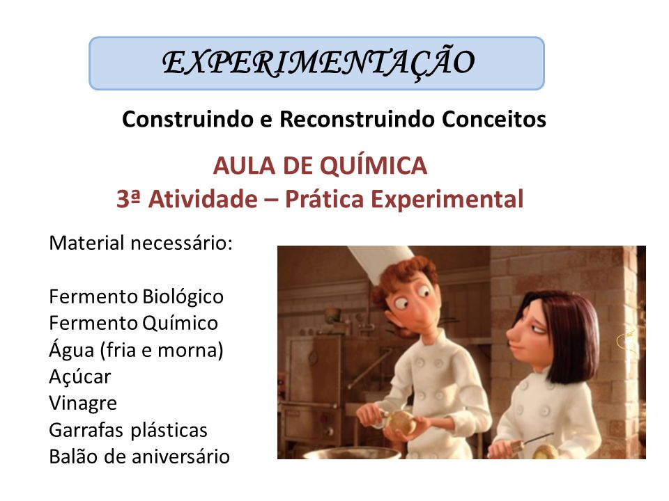 EXPERIMENTAÇÃO AULA DE QUÍMICA 3ª Atividade – Prática Experimental