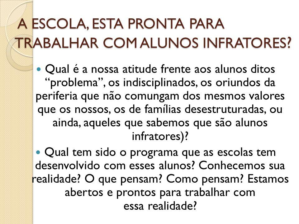 A ESCOLA, ESTA PRONTA PARA TRABALHAR COM ALUNOS INFRATORES