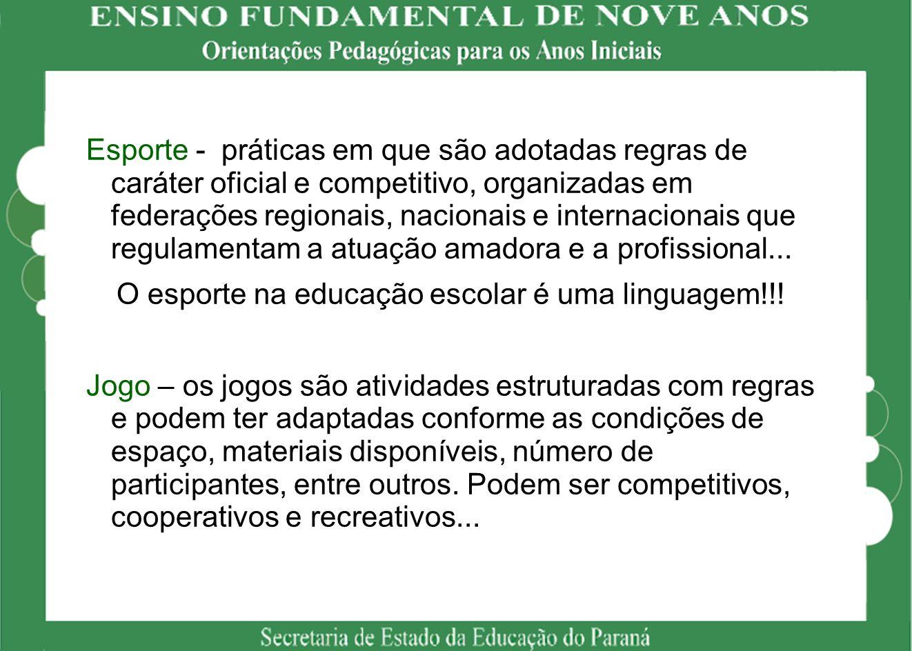 O esporte na educação escolar é uma linguagem!!!