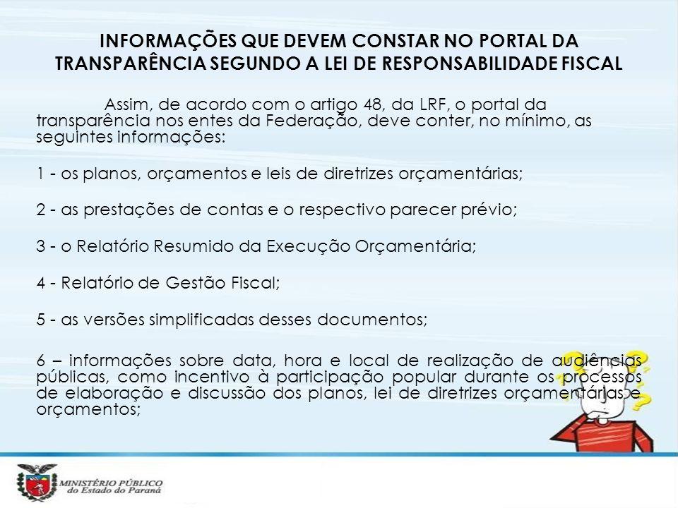 INFORMAÇÕES QUE DEVEM CONSTAR NO PORTAL DA TRANSPARÊNCIA SEGUNDO A LEI DE RESPONSABILIDADE FISCAL