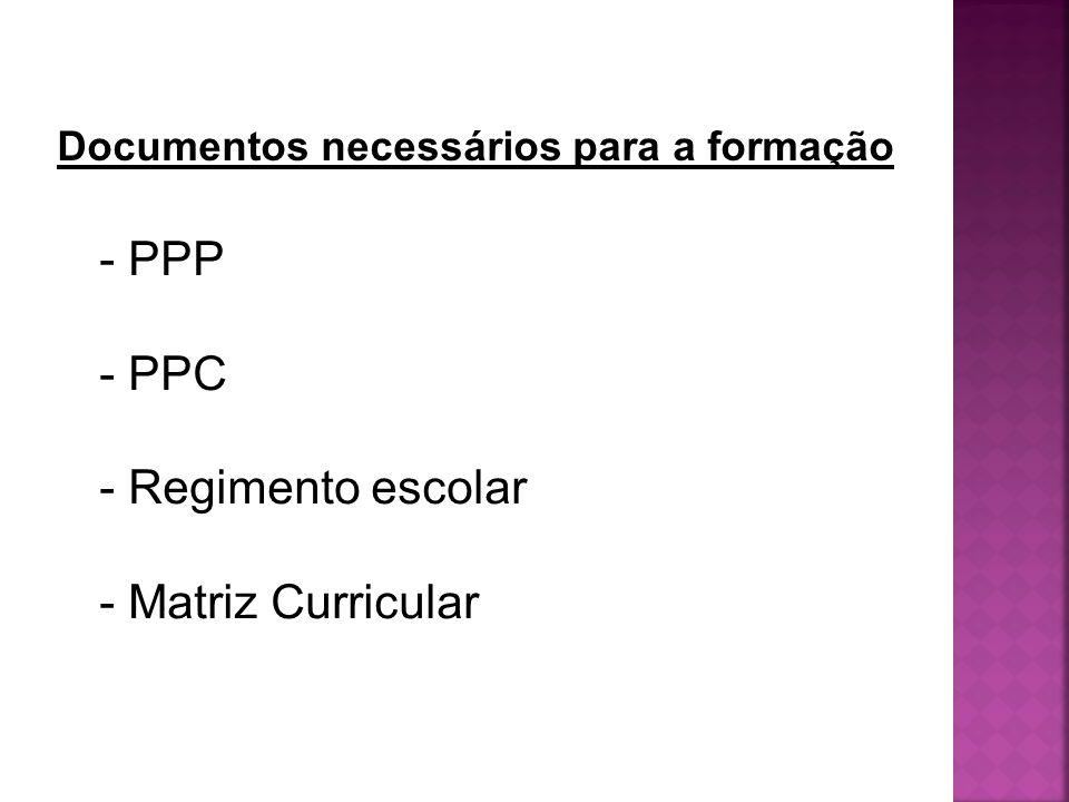 - PPP - PPC - Regimento escolar - Matriz Curricular