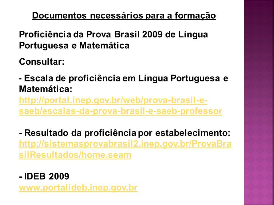 Documentos necessários para a formação