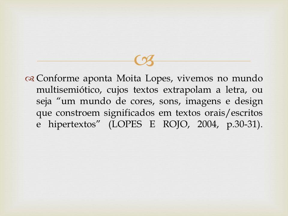 Conforme aponta Moita Lopes, vivemos no mundo multisemiótico, cujos textos extrapolam a letra, ou seja um mundo de cores, sons, imagens e design que constroem significados em textos orais/escritos e hipertextos (LOPES E ROJO, 2004, p.30-31).