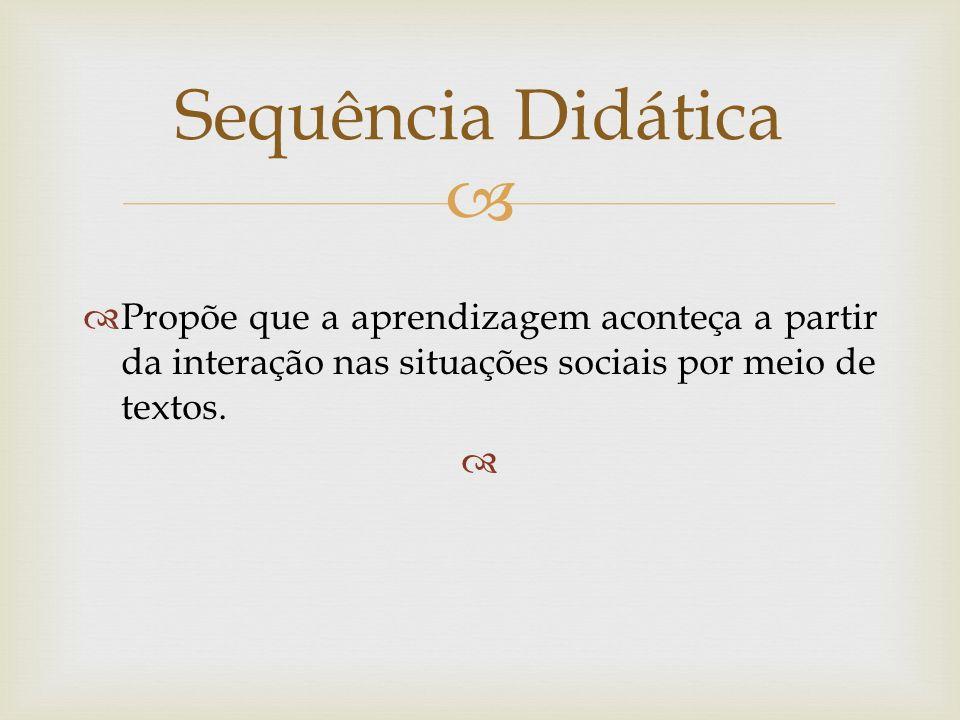 Sequência DidáticaPropõe que a aprendizagem aconteça a partir da interação nas situações sociais por meio de textos.