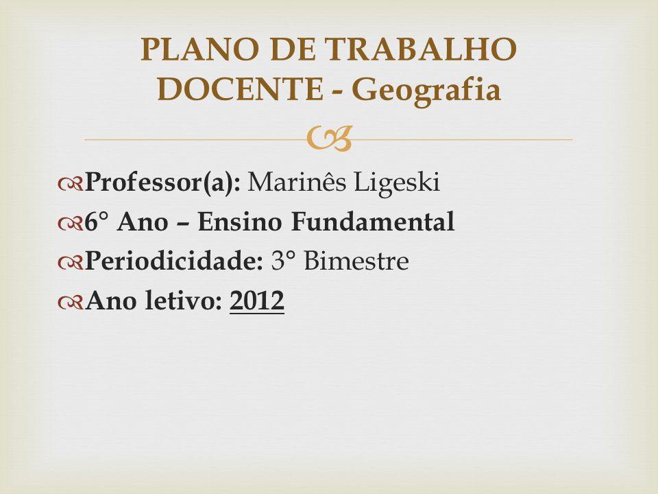 PLANO DE TRABALHO DOCENTE - Geografia