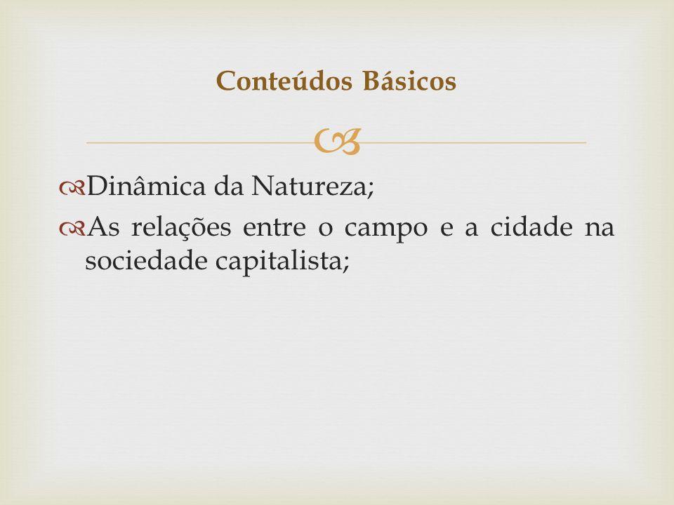 Conteúdos Básicos Dinâmica da Natureza; As relações entre o campo e a cidade na sociedade capitalista;