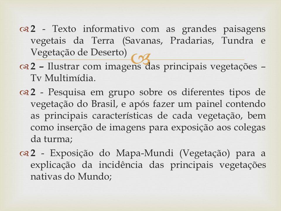 2 - Texto informativo com as grandes paisagens vegetais da Terra (Savanas, Pradarias, Tundra e Vegetação de Deserto)