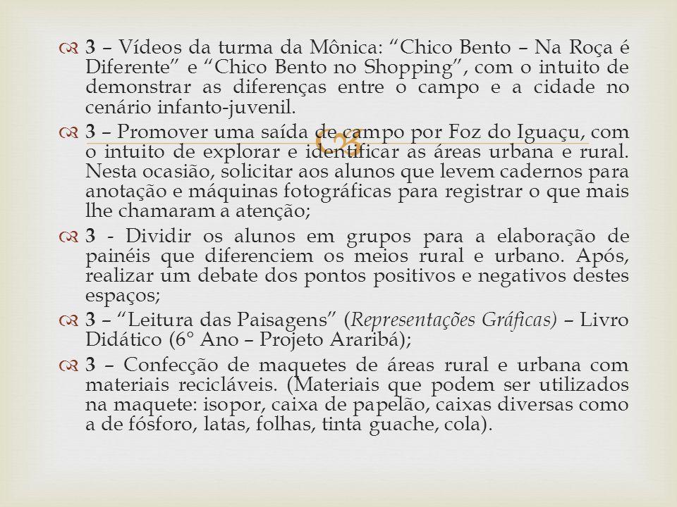 3 – Vídeos da turma da Mônica: Chico Bento – Na Roça é Diferente e Chico Bento no Shopping , com o intuito de demonstrar as diferenças entre o campo e a cidade no cenário infanto-juvenil.