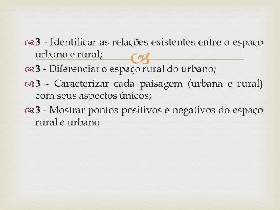 3 - Identificar as relações existentes entre o espaço urbano e rural;