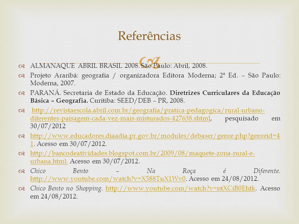 Referências ALMANAQUE ABRIL BRASIL 2008. São Paulo: Abril, 2008.