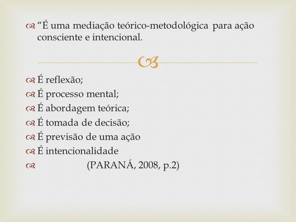 É uma mediação teórico-metodológica para ação consciente e intencional.