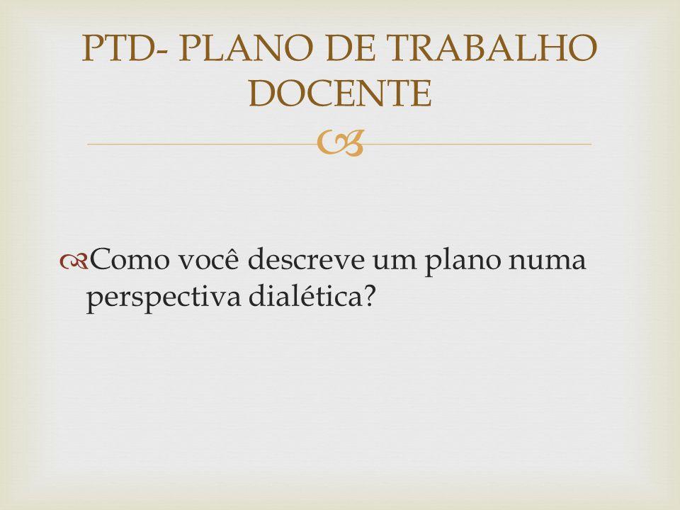 PTD- PLANO DE TRABALHO DOCENTE