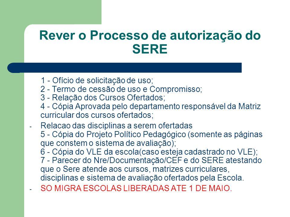 Rever o Processo de autorização do SERE