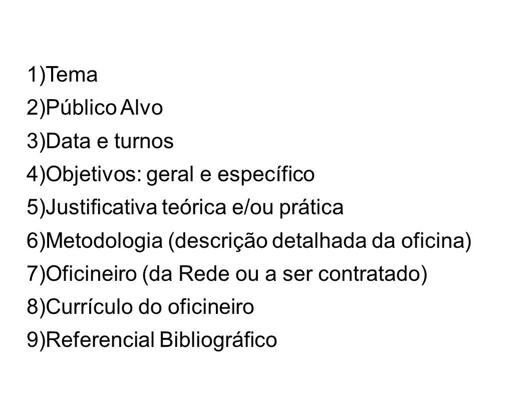 Tema Público Alvo. Data e turnos. Objetivos: geral e específico. Justificativa teórica e/ou prática.