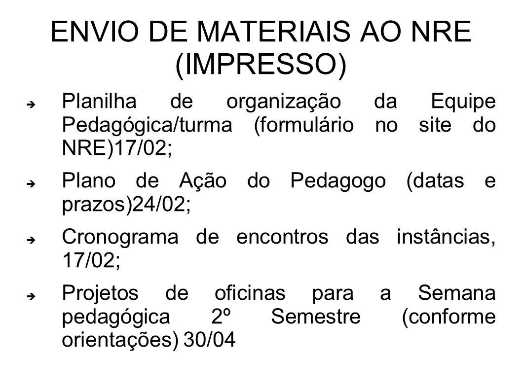 ENVIO DE MATERIAIS AO NRE (IMPRESSO)
