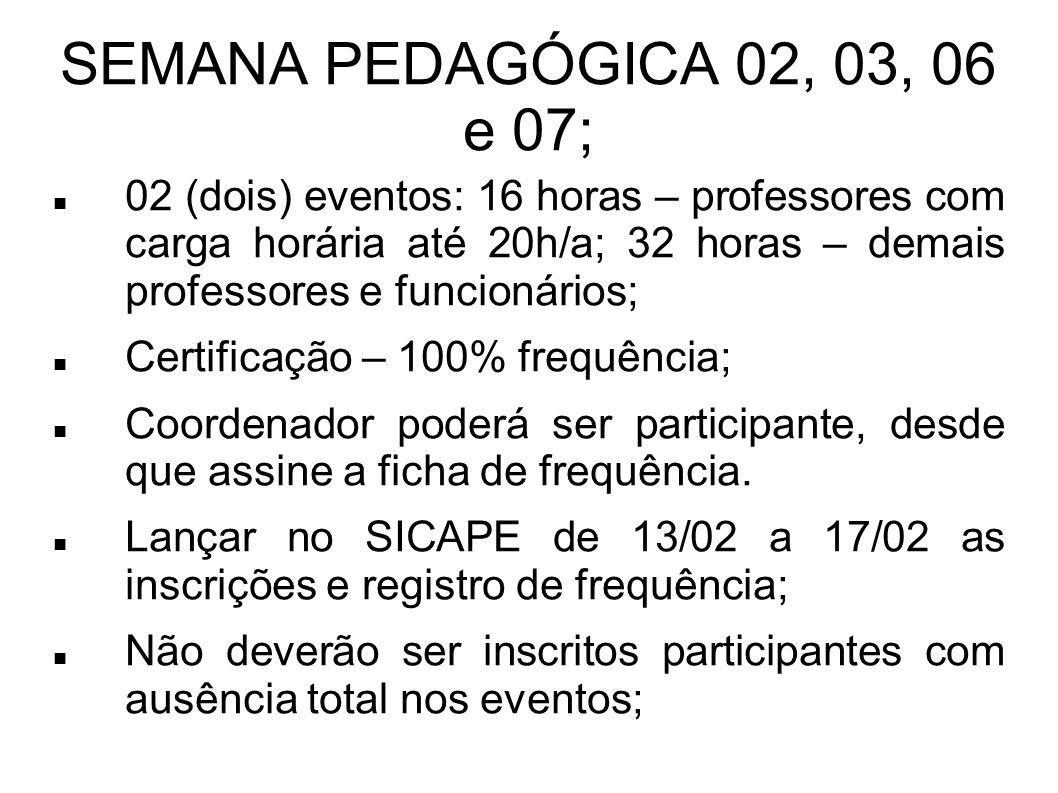 02 (dois) eventos: 16 horas – professores com carga horária até 20h/a; 32 horas – demais professores e funcionários;