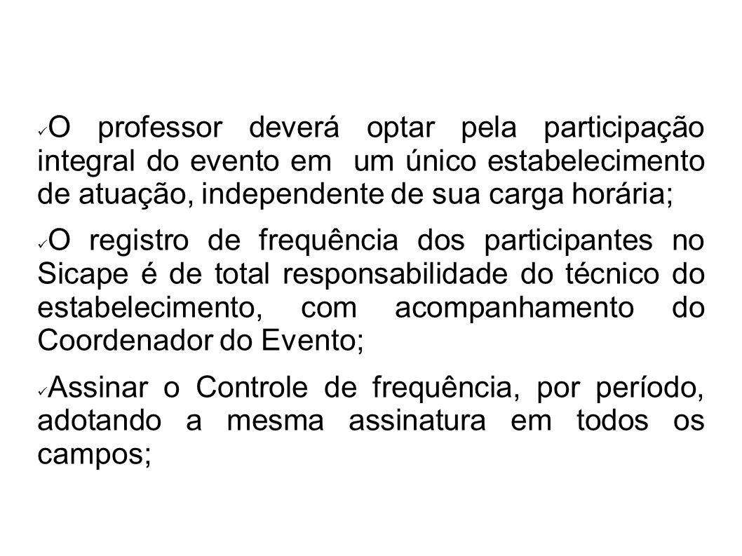 O professor deverá optar pela participação integral do evento em um único estabelecimento de atuação, independente de sua carga horária;