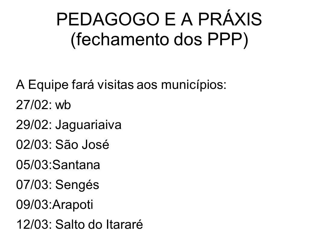 PEDAGOGO E A PRÁXIS (fechamento dos PPP)
