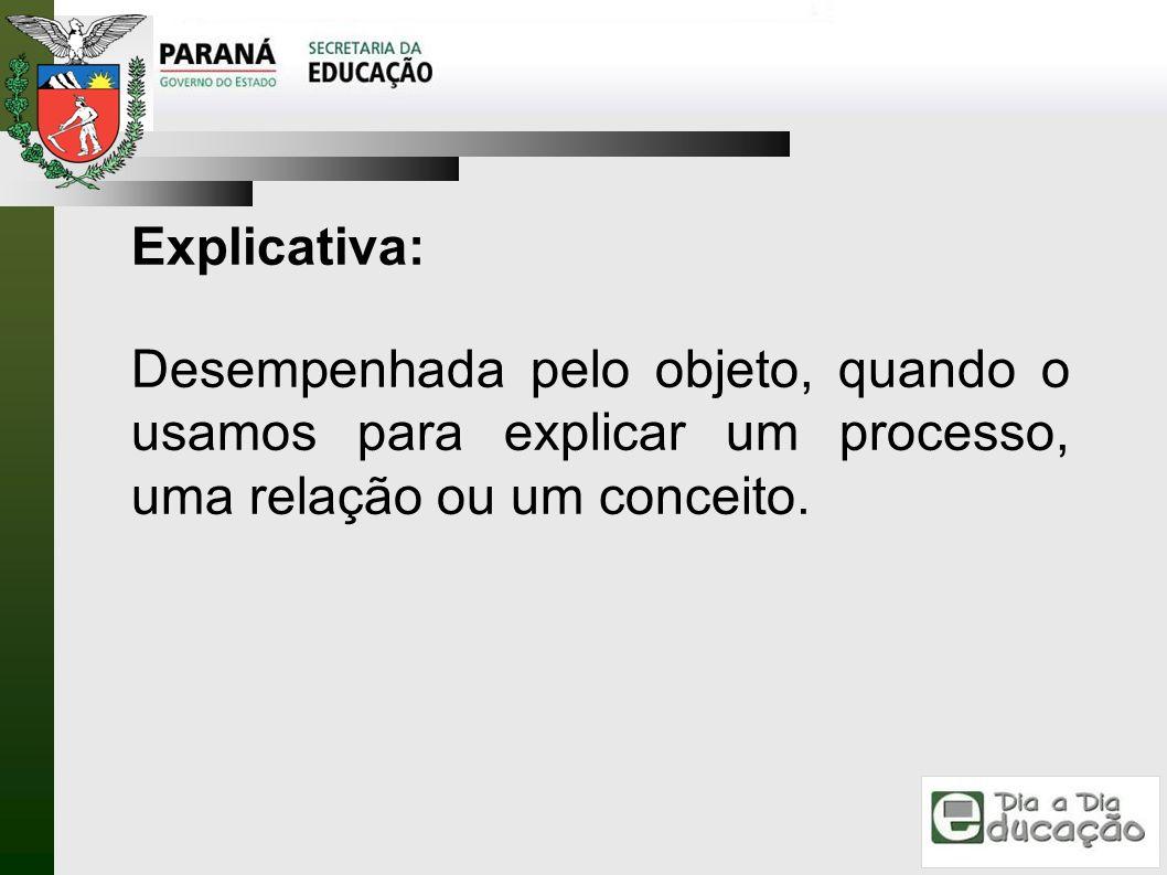 Explicativa: Desempenhada pelo objeto, quando o usamos para explicar um processo, uma relação ou um conceito.