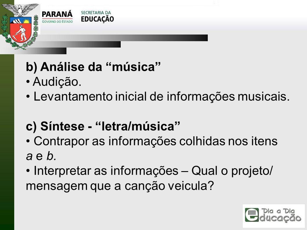 b) Análise da música Audição. Levantamento inicial de informações musicais. c) Síntese - letra/música