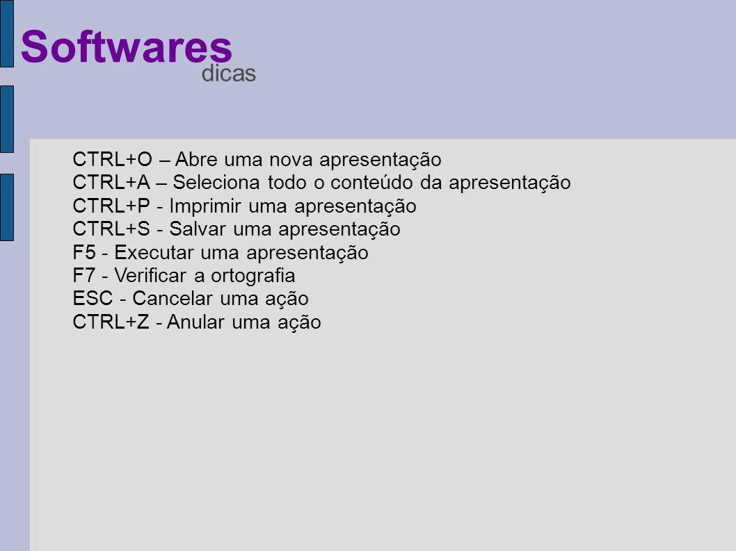 Softwares dicas CTRL+O – Abre uma nova apresentação