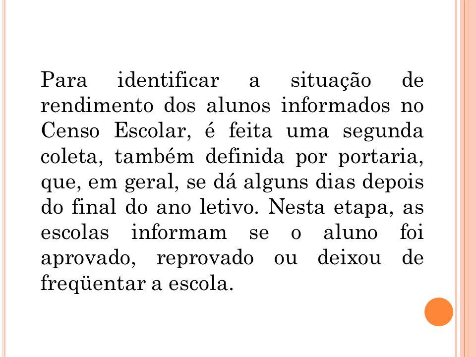 Para identificar a situação de rendimento dos alunos informados no Censo Escolar, é feita uma segunda coleta, também definida por portaria, que, em geral, se dá alguns dias depois do final do ano letivo.